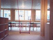 Ein Blick ins Innere des «Lattich»-Holzbaus.