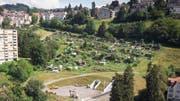 Die Ruckhalde: Mit Wohnungen überbaut werden soll dereinst der Teil mit den Familiengärten sowie die Hecke und die Wiese darüber. (Bild: Ralph Ribi - 8. August 2019)