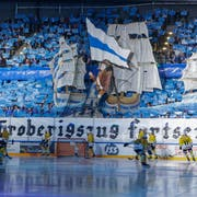 "13.04.2019; Zug; Eishockey National League Playoff Final- EV Zug - SC Bern; Feature, Fans Zug mit Choreographie ""De Eroberigszug fortsetze"" (Marc Schumacher/freshfocus)"
