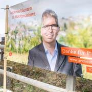Wahlplakate in Steckborn: «Die Steckborner können sich einen Pfarrer nicht als Stadtpräsidenten vorstellen», sagt Andreas Gäumann. (Bild: Andrea Stalder)