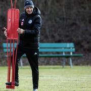 Thomas Haeberli, neuer FCL-Trainer, beim ersten Training am Freitag. (Bild: KEYSTONE/Alexandra Wey, Luzern, 22. Februar 2019)