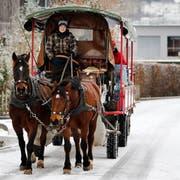 Rösslitram Baar: Sonja Steiner ist die Fuhrhalterin und sammelt mit Leuten vom GGZ Recyclingmaterial ein. (Bild: Stefan Kaiser (Zug, 31. Januar 2019))