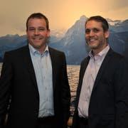 Sie steigen für die SVP Uri in den Wahlkampf: Nationalratskandidat Pascal Blöchlinger (rechts) und Christian Arnold, der den 2016 verlorenen Regierungsratssitz zurückerobern soll. (Bild: Urs Hanhart, Flüelen, 23.Mai 2019)