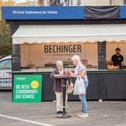 Metzgermeister Jörg Bechinger musste im Herbst seinen Schriftzug am Olma-Stand abdecken. (Bild: Urs Bucher)