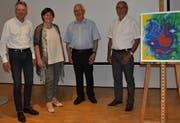 Beat Schildknecht (neuer Vizepräsident) und Christa Hess-Grögli (neue Präsidentin) übernehmen die Aufgaben von Jean-Louis Müller und Victor Buffoni. (Bild: Ramona Riedener)