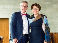 Der Direktor des Verkehrshaus der Schweiz, Martin Bütikofer, mit seiner Frau Katharina. (Bild: Philipp Schmidli, 28. September 2018)