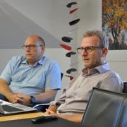 Die beiden Vizepräsidenten der Schulbehörden Kreuzlingen: Markus Blättler (Primar) und Michael Thurau (Sek). (Bild: Urs Brüschweiler)
