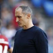 Luzerns Cheftrainer Thomas Häberli im St. Jakob-Park bei der Niederlage gegen Basel. (KEYSTONE/Peter Klaunzer)