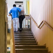 An alternative civilian service healthcare employee works in physiotherapy and helps a person up a flight of stairs at the Schloessli Biel, a center for long-term care, pictured in Biel, Canton of Berne, Switzerland, on December 9, 2016. (KEYSTONE/Christian Beutler)