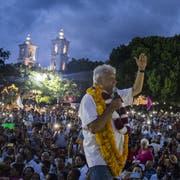 Mexikos ungleiche Modernisierung könnte Linkspolitiker Andrés Manuel López Obrador, hier bei einer Wahlkampfveranstaltung in Chilpancingo, den Weg zur Präsidentschaft ebnen. (Yael Martinez/Bloomberg, 7. Juni 2018)