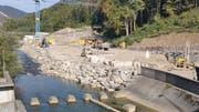 Grossbaustelle am Ausfluss des Wichelsees. (Bild: Markus von Rotz, Alpnach, 13. Oktober 2019)