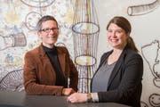 Zwei Frauen, eine Dienststellenleitung: Kristin Schmidt (links) und Barbara Affolter sind Co-Leiterinnen der Kulturförderung. (Bild: Urs Bucher)