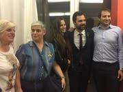 Im vergangenen April traf Monika Diethelm-Knoepfel in Lausanne einige Katalanen sowie Parlamentspräsident Roger Torrent (z.v.r).