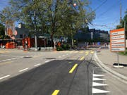 Hinweistafel auf die Sperrung zwischen Mittwoch- und Donnerstagmorgen an der Steinachstrasse. (Bild: Reto Voneschen - 1. Juni 2019)