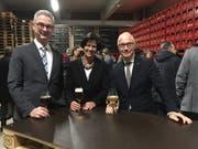 Parlamentspräsidentin Barbara Frei mit ihrem Vize Beat Rütsche und Stadtpräsident Thomas Scheitlin beim Apéro in der Brauerei Schützengarten. (Bild: Seraina Hess - 15. Januar 2019)