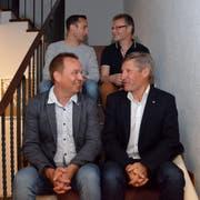 Ernst Bosshard (unten rechts) übergibt das Präsidentenamt an Bruno Frei (unten links). Im kommenden Jahr wird auch Stefan Roggensinger (oben rechts) aus dem Vorstand zurücktreten, er wird ersetzt durch Marco Vogt (oben links). (Bild: Christoph Heer)