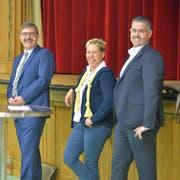 Kilian Germann und Patrick Sempach treten auch im zweiten Wahlgang für das Bürgler Gemeindepräsidium an. Jasmine Schönholzer zieht sich zurück. (Bild: Mario Testa)