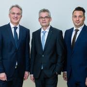 Die Geschäftsleitung (von links): Patrick Keller, Adrian Müller (Vorsitzender d. GL), Patrick Schiegg. (Bild: PD)