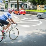 Der Postkreisel in Frauenfeld ist ein Knotenpunkt für verschiedene Verkehrsteilnehmer. (Bild: Andrea Stalder, Juni 2016)