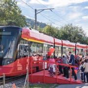 """Die Appenzeller Bahn hielt auch beim """"Lattich"""". (Bild: Hanspeter Schiess)"""