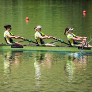 Winner Lucy Stephan, Rosemary Popa, Sahra Hawe and Molly Goodman of Australia 1, from left, during the Women's Four Final A at the rowing World Cup on Lake Rotsee in Lucerne, Switzerland, Sunday, July 15, 2018. (KEYSTONE/Alexandra Wey)