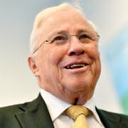 Alt-Bundesrat Christoph Blocher an der Medienkonferenz in Zürich am Dienstag. 16. April 2019. (Bild: KEYSTONE/Walter Bieri)