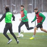 Simone Rapp (Mitte) bestreitet das erste Training mit St.Gallen. Am ersten Tag noch nicht mit dabei waren der angeschlagene Silvan Hefti und Majeed Ashimeru, der nach Einsätzen mit Ghanas Nachwuchs-Nationalteam noch länger in der Heimat bleiben durfte. (Bild: Urs Bucher)