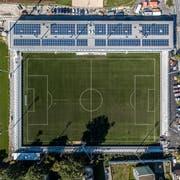 Blick aus knapp 150 Metern Höhe auf das neue Stadion Kleinfeld. Bild: Pius Amrein (Kriens, 26. September 2018)