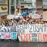 Am 15.März veranstalteten die Schüler eine Klimademo in St.Gallen. (Bild: Urs Bucher)