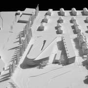 Die Visualisierung mit Blick von Westen her zeigt die Ausmasse des geplanten Twerenbold-Projekts. (Bild: PD/Architektur Strut)