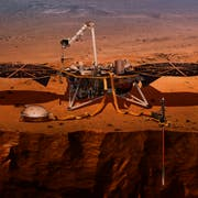 Eine Illustration des Mars-Roboters InSight. (Illustration: NASA)