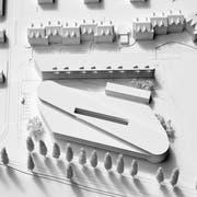 Die Visualisierung zeigt die Dimensionen des geplanten Twerenbold-Projekts mit Busterminal und Wohngebäude auf der Parzelle an der Ecke Sonnenhofstrasse/Schaffhauserstrasse aus nördlicher Sicht. (Bilder: PD/Architektur Strut)