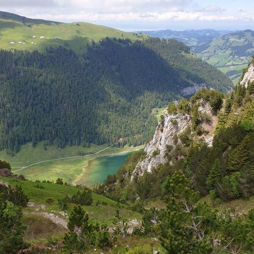 Diese steile Wanderung führt vom Hohen Kasten über die Stauberen, am Sämtisersee vorbei und durchs Brüeltobel zurück nach Brülisau.
