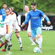 Calcio Kreuzlingen (Antonio Mihaylov, Mitte) stieg vergangene Saison aus der 2. Liga auf, ohne ein Spiel verloren zu haben. (Bild: Mario Gaccioli, 25. Mai 2019)