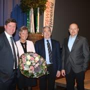 Strahlende Gesichter beim Thurgauer Gewerbeverband: Hansjörg Brunner, Angela Haltiner, Max Möckli und Martin Lörtscher. (Bild: Manuela Olgiati)