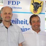 FDP-Schweiz-Präsidentin Petra Gössi, Ruedi Cathry, Präsident der FDP Uri, und Nationalratskandidat Matthias Steinegger (von links). (Bild: Carmen Epp, Flüelen, 25. Juni 2019)