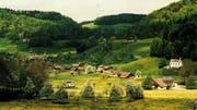 Der Weiler Oberrindal kurz vor der Jahrtausendwende: Die weisse Kapelle am kleinen Hügel oberhalb der Flawilerstrasse steht auf dem Gemeindegebiet von Oberuzwil. Die Häuser auf der anderen Strassenseite gehören zu Lütisburg. (Bild: PD)