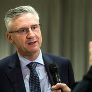 Nationalrat Andreas Glarner spricht am SVP-Kantonalparteitag am Mittwoch, 23. Januar 2019, in Rothrist. (Bild: Alexandra Wey/Keystone)