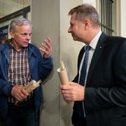 Der parteilose Rudolf Schweizer (links) verzichtet auf die Teilnahme am zweiten Wahlgang, der ebenfalls parteilose Marcel Schwerzmann tritt erneut an. (Bild: Boris Bürgisser, Luzern, 31. März 2019)