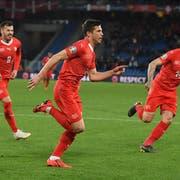 Jubelt zum 1:0 gegen Dänemark: Remo Freuler (Mitte). (Bild: Toto Marti/Freshfocus (Basel, 26. März 2019))