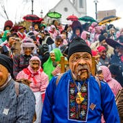 Urchige Masken sind am Samstag am «Chrienser Böögge-Triibe» zu sehen. (Bild: Manuela Jans-Koch, 26. Januar 2019)