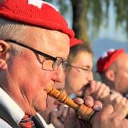Wie patriotisch darf oder muss eine Bundesfeier sein? Die Stadtmusik Arbon gab sich jeweils ganz vaterländisch. (Bild: Max Eichenberger)