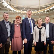Der Frauenfelder Stadtrat ab Juni 2019: Fabrizio Hugentobler (FDP, neu), Barbara Dätwyler (SP, neu), Stadtpräsident Anders Stokholm (FDP, bisher), Elsbeth Aepli (CVP, bisher) und Andreas Elliker (SVP, neu).