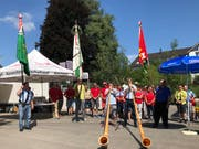 Alphornklänge umrahmen die Feier des 1. Augusts in Berg. (Bild: Tobias Bolli)