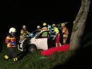 Die Feuerwehr birgt eine Frau aus dem Unfallwagen. (Bild: Zuger Polizei)