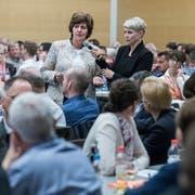 Nationalrätin Ida Glanzmann spricht am Dienstagabend zu den Delegierten der CVP. (Bild: Pius Amrein, Hildisrieden, 2. April 2019)