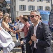 Bundesrat Ignazio Cassis bei der Ankunft vor dem Regierungsgebäude in Altdorf anlässlich der Bundesratsreise. (Bild: KEYSTONE/Urs Flüeler, 4. Juli 2019)