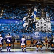 Choreo der Zuger Fans Playoff-Halbfinalspiel gegen Lausanen. (Bild: Alexandra Wey / Keystone, 30. März 2019)