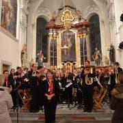 Die Liberty Brass Band Ostschweiz geniesst den Applaus nach ihrem Konzert in der Homburger Kirche. (Bild: Margrith Pfister-Kübler)