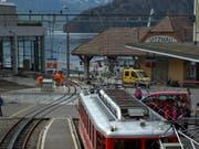 Die Station der Rigi Bahnen in Vitznau. (Bild: Nadia Schärli, 29. März 2016)